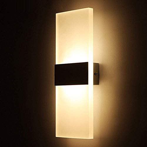 Geekercity Modern Acrylic 6W LED Bedroom Wall Lamps Fixture Decorative Lamps Night Light for Pathway Staircase Bedroom Balcony Drive Way Living Room Bathroom (Powered by Corded-electric)