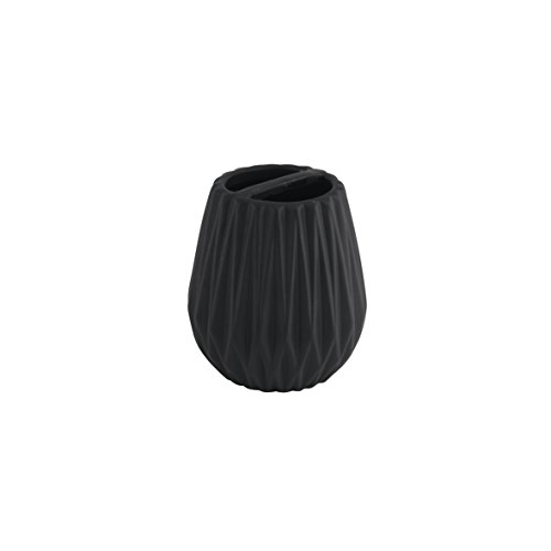 axentia Chicago Gobelet Brosse à Dents, Dolomite, Noir, Ø env. 8 cm