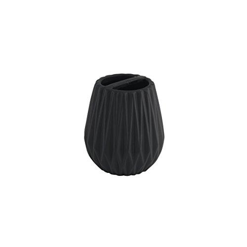 axentia Zahnbürstenhalter Chicago schwarz, hochwertig verarbeiteter Zahnbürstenständer aus Keramik mit modernem Design in schöner Farbe