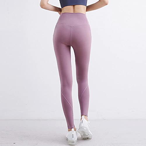 ArcherWlh Yoga Pantalones Mujer,Autumn and Winter New Naked Feelings Without Wire Pocket Yoga Pants Europe and The United States High Waist Tight Peach Hips Sports Fitness Pants-Lotus Root Starch_L
