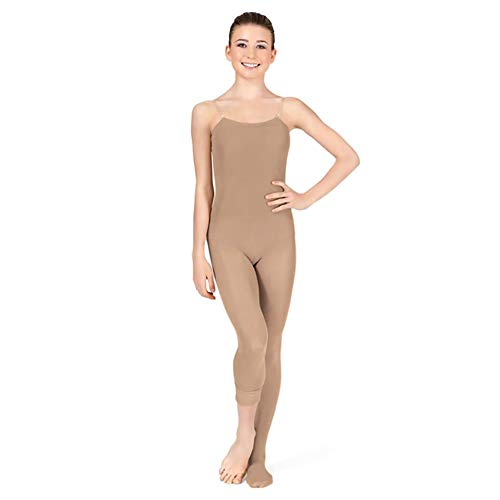 DANCEYOU Women's Full Stretch Convertible Girls Body Tights for Dance Performances, Tan, Size M