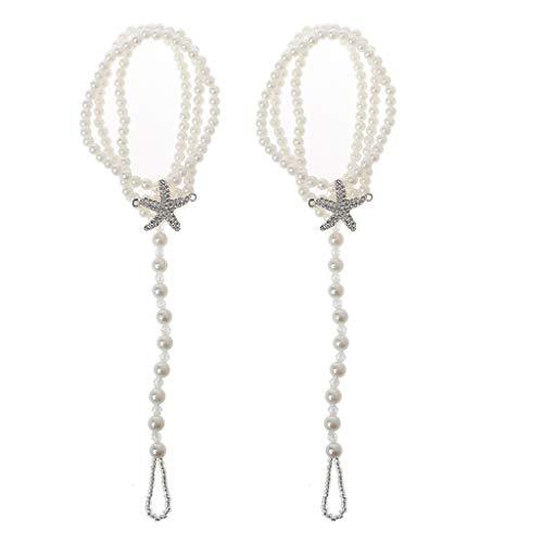 Yushu 2 pulseras de tobillo de perlas para la playa, bodas, pies descalzos y tobilleras, para mujeres, hombres y adolescentes