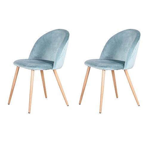 Uderkiny Juego de 2/4/6 sillas Silla de Comedor de Terciopelo con Respaldo, Apto para Cocina salón Comedor Dormitorio (Verde-2)