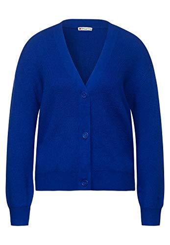 Street One Damen Cardigan mit Knöpfen Cobalt Blue Melange 44