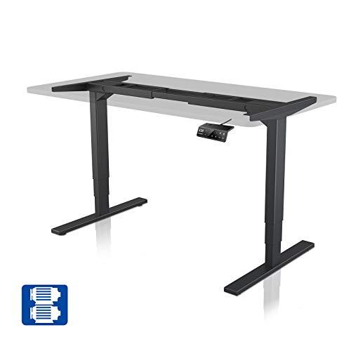 Elektrischer Höhenverstellbarer Schreibtisch mit 2 Starken Motoren, MAIDeSITe Heimbüro Höhenverstellbares Tischgestell mit 4 Memory-Steuerung und Kollisionschutz (3-stufig, Schwarz)