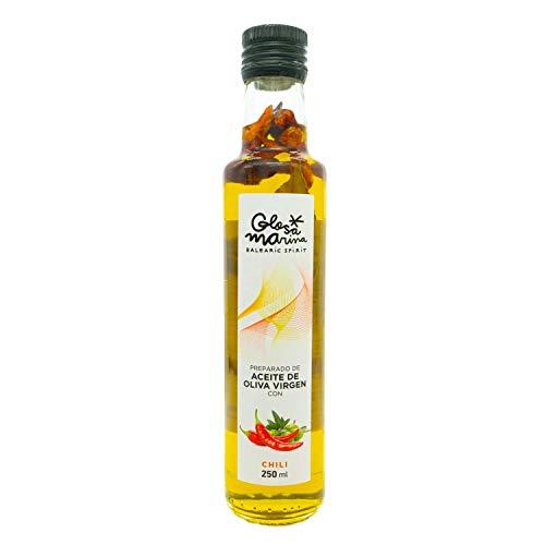 Glosa Marina Natives Olivenöl mit Chili, Natürliches Peperoni Chiliöl in 250ml Flasche mit eingelegten spanischen peperoncino und Lorbeerblätter