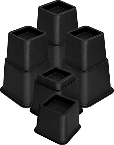 Utopia Bedding Adjustable Bed Furniture Risers - Elevation in Heights 3, 5 or 8 Inch Heavy Duty Risers for Sofa and Table - Supports up to 1,300 lbs - (8 Piece Set, Black)