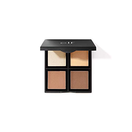 e.l.f., Contour Palette, 4 Shades, Customizable, Easy to Apply, Sculpts, Shades, Brightens, Light/Medium, Infused with Vitamin E, All-Day Wear, 0.56 Oz
