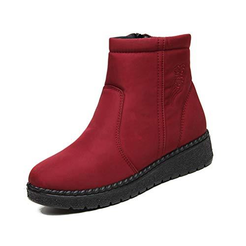 MNSSRN-MM Y el algodón zapatos de terciopelo caliente, calor a prueba de agua de superficie engrosada, zapatos antideslizantes de alta techo de lona de invierno, nieve de las mujeres Botas,Rojo,42