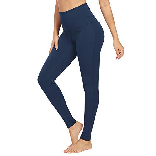 QUEENIEKE Damen-hohe Taillen Yoga Leggings Hosen Trainings Strumpfhosen laufen Dunkelblau M