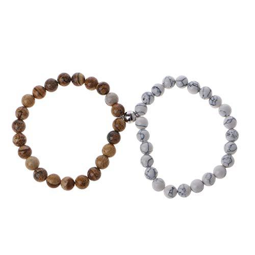XIANZI 2 pulseras magnéticas para mujeres y hombres, atracción mutua, piedras volcánicas, pulseras regalos para los amantes y mejores amigos