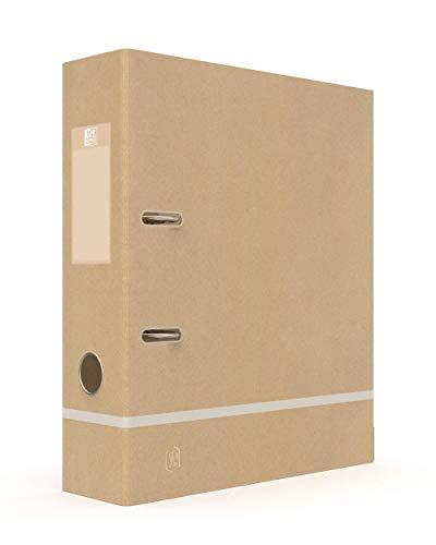 Oxford Ordner Touareg A4, Rückenbreite 80 mm, 2 Ringe, Kraftpapier, Beige und Weiß gefrostet