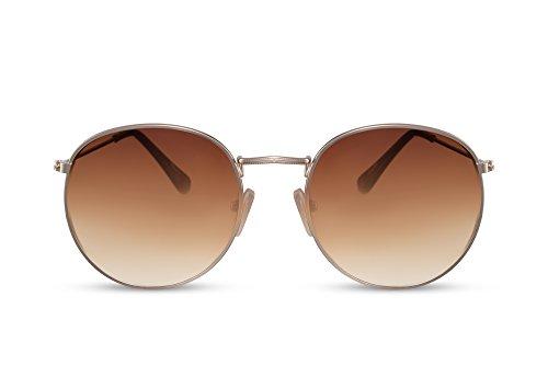 Cheapass Sonnenbrille Rund Braun Gold UV-400 Retro Vintage Metall Damen Herren
