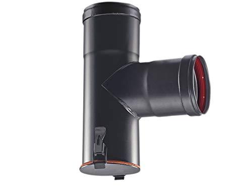 Raccordo a T 90° braga codino F nero pellet con ispezione Bassa Stufa Codino (D 80mm)