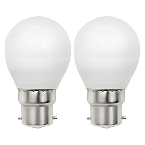 Bombilla LED B22 Regulable Luz Blanca Cálida 3000K 5W Equivalente a G45 Bombilla de 40W 50W 230V B22D / BC / Bayoneta, Sin Parpadeo, 2 unidades