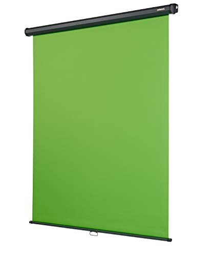 celexon Rollo Chroma Key Green-Screen zur Deckenmontage 200 x 190 cm - professionelle Studiokulisse/Hintergrund für Video-Übertragung, Webcam-Meeting