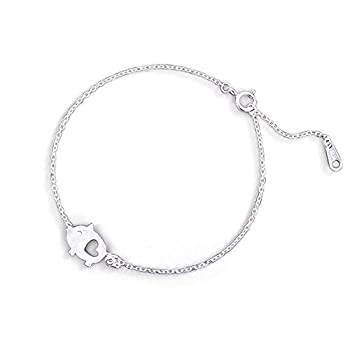Cute Pig Bracelet for Women Girls Sterling Silver Delicate Matte Porket Hollow Love Heart Charm Link Bracelets Anklets for Pet Lover Animal Keepsake Jewelry Birthday Christmas Gifts for Daughter Niece 8 inch
