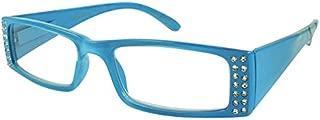 Edge I-Wear Women's Clear Rhinestone Lightweight Rectangular Clear Lens Reading Glasses 31806SR-+2.00-2(CL+BU)