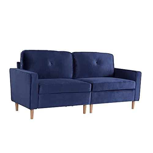 JoRecyczen - Divano a 3 posti, divano a 3 posti, per soggiorno, divano basculante, in velluto, con piedini in legno e braccioli, design moderno per accoglienza, camera da letto, ufficio