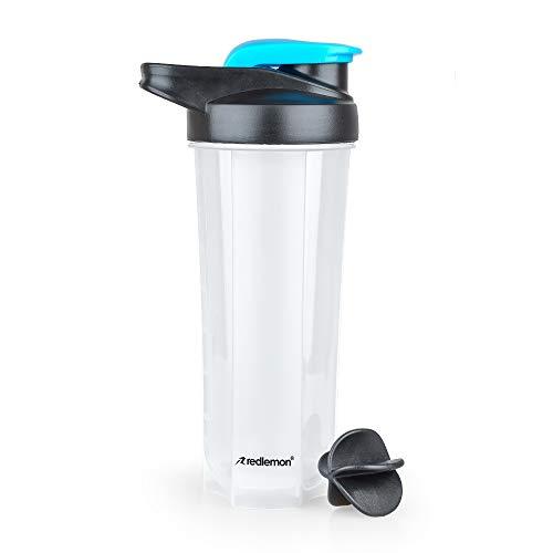 Redlemon Botella Mezcladora tipo Shaker para Proteína (700 ml / 24 Oz), con Tapa Hermética Antiderrames, Diseño Portátil, Innovador...