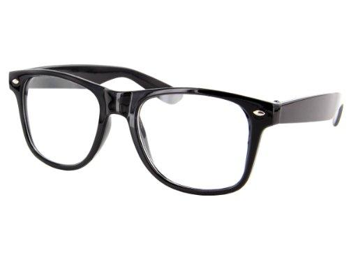 Alsino Nerd Brille ohne Stärke Karneval Fasching Sonnenbrille Schwarz Hornbrille für Kostüm Accessoires Modebrille (klar) , (klar)