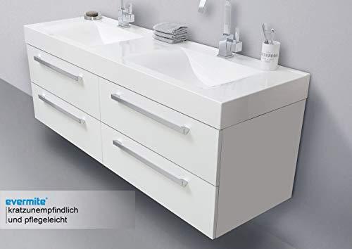 Intarbad ~ Doppelwaschtisch 160 cm Badmöbel mit Unterschrank, Spiegelschrank Halifax Eiche Natur IB1118
