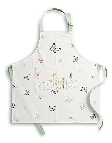 Maison d' Hermine Botanical Fresh 100% Cotton Apron (27.50 Inch by 31.50 Inch) Set of 3 Kitchen Towels (20 Inch by 27.5 Inch) and Oven Mitt (7.5 Inch by 13 Inch)/Pot Holder (8 Inch by 8 Inch) Bundle S Montana