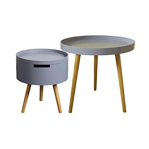 Home-table Tavolo Combinato per Soggiorno, Forma Rotonda con Tavolini da caffè di Stoccaggio Legno Facile da Installare Tavoli di Divani Tavoli Multifunzione(Size:50 * 50CM+43 * 38CM,Color:#2)