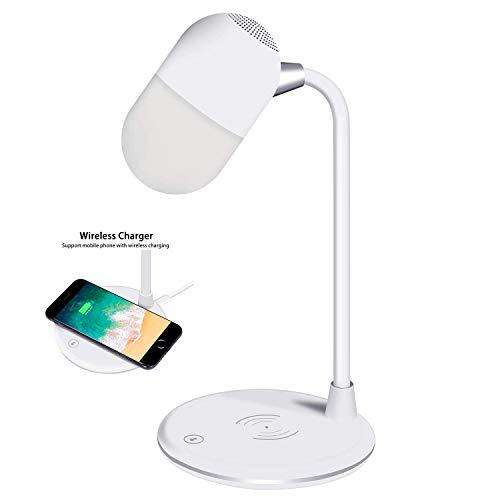 MRXUE Bluetooth luidsprekerlamp met draadloos opladen flexibele Goosenhoek led-tafellamp ooglicht nachtverlichting voor de kamer of kantoor lezen