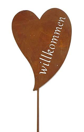 Decpero Roststecker Herz mit Schriftzug Willkommen / 120 cm