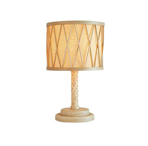 Tafellamp van massief hout, bamboekunst in landelijke stijl van rotan, bamboe, landhuis, slaapkamer, E27, 1 knop, voeding, creatief, Scandinavisch.