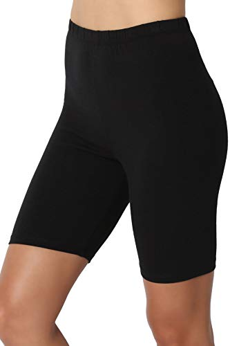 TheMogan Women's Cotton Mid Thigh High Waist Active Short Leggings Black L