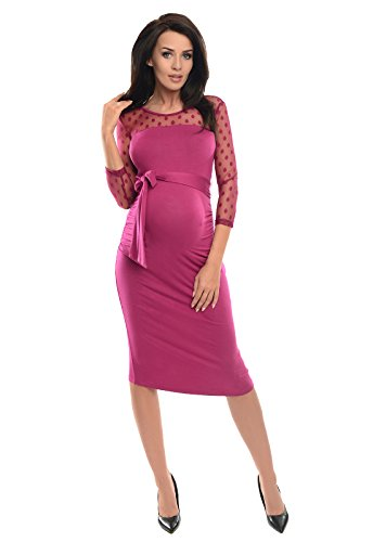 Purpless Maternity Ruched Bodycon Pregnancy Dress with Sheer Mesh Panel D008 (12, Dark Pink)