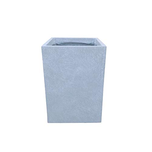 Kante RF0007B-C60611 Lightweight Concrete Tall Square Outdoor, Medium Planter, Slate Gray