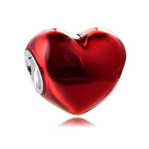 PANDOCCI 2021 regalo del día de San Valentín rojo metálico corazón perla 925 plata DIY se adapta a pulseras originales Pandora encanto joyería de moda (rojo)