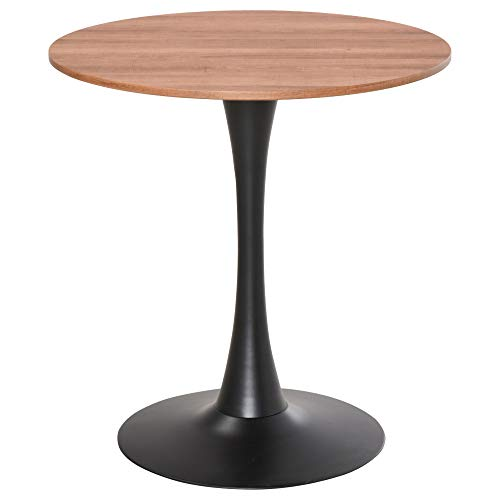 HOMCOM Modern Round Dining Table Leisure Coffee Bistro Table with Metal Base for Kitchen & Dining Room Brown