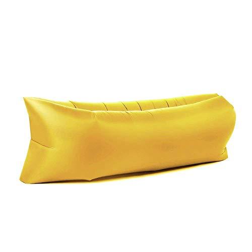KSWD Sofá de Aire Inflable Tumbona de Playa al Aire Libre Sofá Perezoso Bolso Perezoso cómodo Sofá Cama de Aire para Camping, jardín y Playa-2.2m210T Amarillo