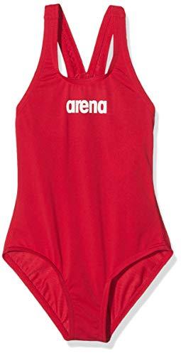 arena Mädchen Trainings Badeanzug Solid Swim Pro (Schnelltrocknend, UV-Schutz UPF 50+, Chlorresistent), Red-White (45), 110