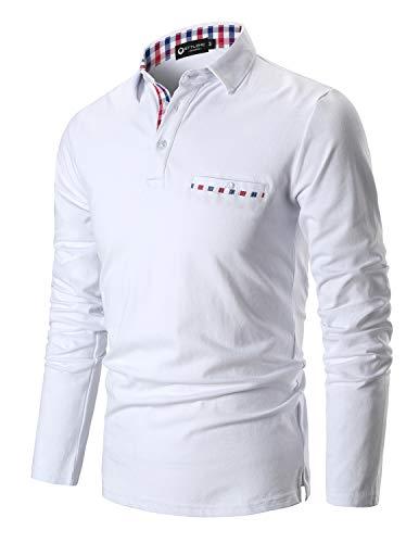 STTLZMC Poloshirt Herren Langarm Basic T-Shirt Freizeit Plaid spleißen Polohemd,Weiß,XXL
