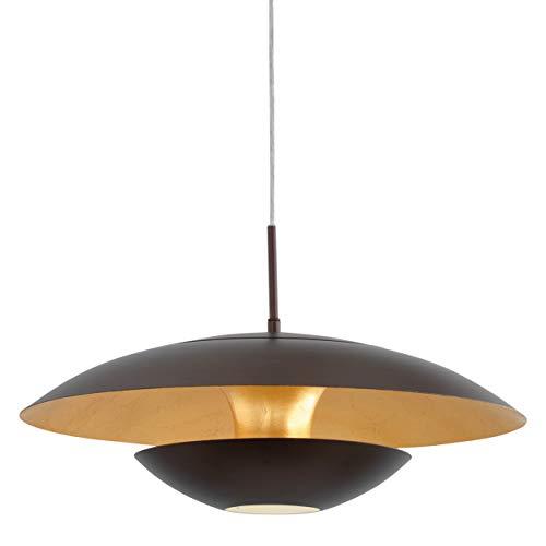 Eglo Suspension Nuvano - 1 Ampoule - Moderne - en Métal - Marron - Doré - Pour Salle à Manger - avec Douille E27 - Diamètre de 48 cm