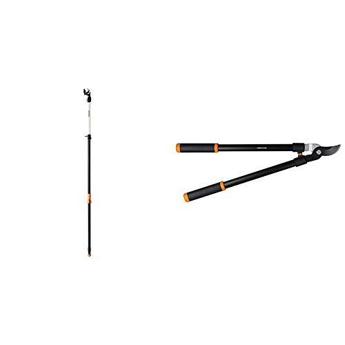 Fiskars 7.9-12 Foot ExtendableTree Pruning Stik Pruner (92406935K) & 28 Inch Bypass Lopper Black/Orange (391461-1003)