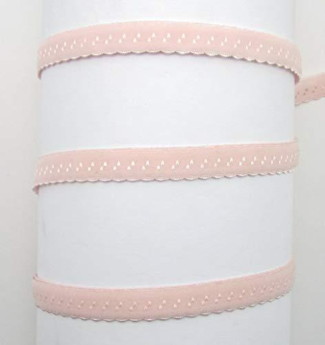 Schrägband elastisch, 12mm, vorgefalzt, Gummi, Elastic, nähen, Meterware, 1meter (Hellrosa)