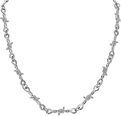 Beapet Punk Thorns Collar Gótico Cadena de Alambre de púas Punk Key Lock Capas Collares para Hombres Mujeres Niñas Niñas (Color : 1-Thorns, S : -)
