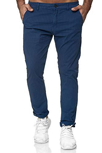 EGOMAXX Herren Gestreifte Chino Hose Slim Jeans Tapered Leg Casual, Farben:Blau, Größe Hosen:W34