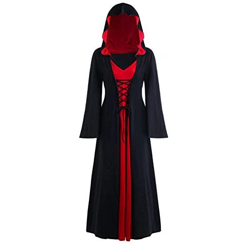 BIBOKAOKE Mittelalter Kleid Damen Gothic Steampunk Langarm Kleid Mit Kapuze Flare-Ärmel Abendkleider Cosplay Kostüm Frauen Karneval Kleidung Bodenlangen Gebunden Taille Maxikleid
