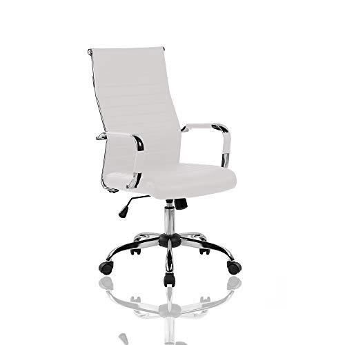 Tuoni ETA, Sillón presidencial de oficina, piel sintética blanca, asiento acolchado, regulable en altura 112/122 x 72 x 66 cm…