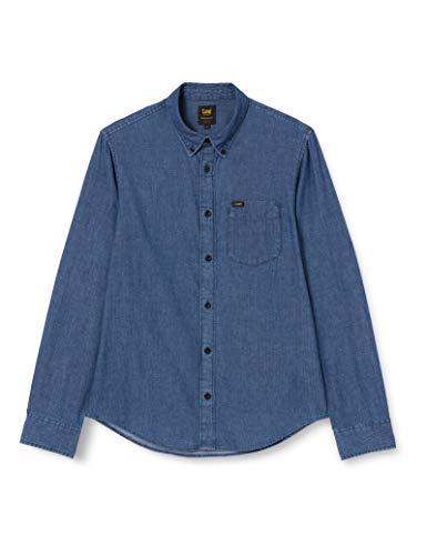 Lee Button Down Camisa, Azul Lavado, S para Hombre