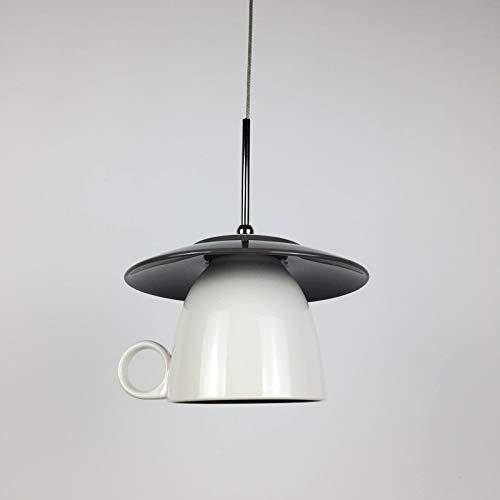 Raelf Personalizado creativo LED azul taza de café araña nórdica cerámica colgando luz LED G4 comedor isla araña creativa araña marca taza luz café restaurante simple taza lámpara de lámpara 148mm 110