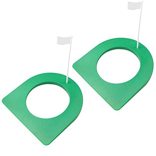 hocadon 2 Pcs Práctica De Golf Copa Golf Putting Cup de Plástico, Copa de Práctica de Entrenamiento de Golf para Patio Oficinas Interior Al Aire Libre, Verde, con Bandera Blanca