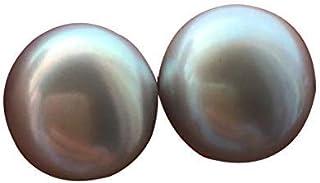 Aretes de plata con perlas grises de agua dulce